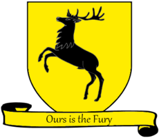 A coat of arms showing a black stag on a yellow field.