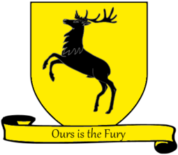 Coat of arms of House Baratheon A Song of Ice and Fire arms of House Baratheon yellow scroll English.png