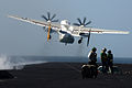 A U.S. Navy C-2A Greyhound launches from the flight deck of the aircraft carrier USS John C. Stennis (CVN 74) during flight operations on March 9, 2013 130309-N-OY799-672.jpg