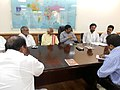 A delegation from Telangana led by Shri Bangaru Dattatreya, MP and former Union Minister meeting the Minister of State (Independent Charge) for Petroleum and Natural Gas, Shri Dharmendra Pradhan.jpg
