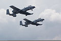 A pair of A-10 Thunderbolt II aircraft, assigned to the U.S. Air Force 107th Fighter Squadron, Michigan Air National Guard, depart Selfridge Air National Guard Base, Mich., Aug. 10, 2012 120810-F-NJ721-722.jpg
