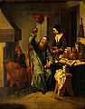 A physician examining a urine-flask brought by a woman. Oil Wellcome V0017274.jpg