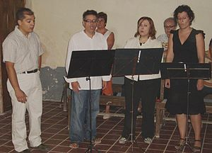 Music stand - A vocal group using music stands.
