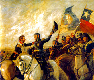 Battle of Maipú - The Hug of Maipú by Pedro Subercaseaux .