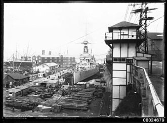 HMS New Zealand (1911) - New Zealand dry-docked at Cockatoo Island Dockyard in Sydney during Admiral Jellicoe's tour of the Dominions