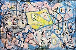 Adolf Bierbrauer - Anti Christianity without fear,Acrylic on canvas, 80 cm x 120 cm, 1999