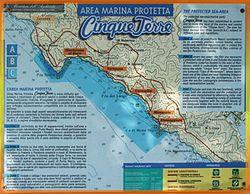 Mappa dell'Area marina protetta Cinque Terre