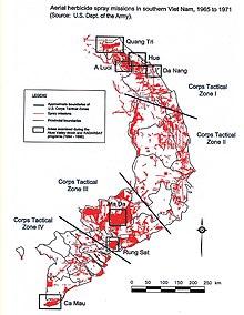 Mappa dove entra l'Agente Orange nella catena alimentare