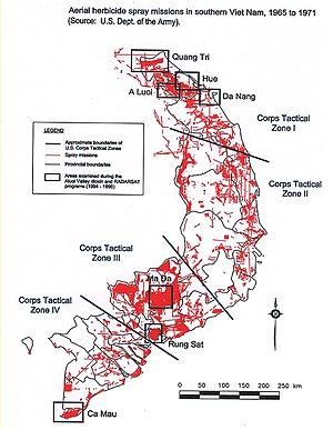 Agent Orange - Map showing locations of U.S. Army aerial herbicide spray missions in South Vietnam taking place from 1965 to 1971.
