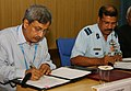 Air Cmde. S.B.P. Sinha of Indian Air Force and the Director, DIPR, DRDO, Dr. Manas K. Mandal signing an agreement for series production of Computerised Pilot Selection System for IAF, in New Delhi on August 05, 2010.jpg