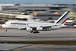 Air France Airbus A380 landing at Miami Airport.jpg