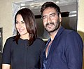 Ajay Devgn, Sonakshi Sinhaat promotions of 'Action Jackson'.jpg