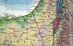 Ktzi'ot Prison - Pre 1939 map showing how Al Auja junction controlled the paved road from Palestine into Egypt.