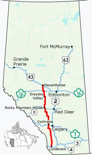 Alberta Highway 22 - Image: Alberta Highway 22 Map
