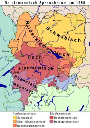 Alemannic-speaking regions (situation around 1950)