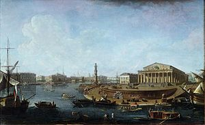 Old Saint Petersburg Stock Exchange and Rostral Columns - Fyodor Alekseyev, View of the Stock Exchange and Admiralty from the Peter and Paul Fortress, 1810