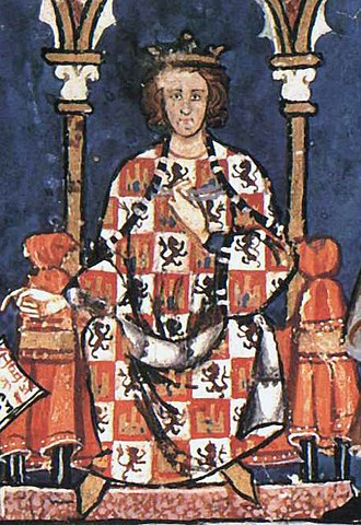 Alfonso X of Castile - Portrait of Alfonso X from the Libro de los juegos (1283)