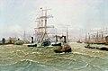 Alfred Jensen - Hamburger Hafen mit Dreimaster und zahlreichen Dampfbooten.jpg