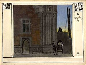 Theatrical scenery in the nineteenth century - Alfred Roller, Before a Palace, for Goethe's Faust, Part II, Act V, Scene 17, 1911, Pen and black ink, watercolor and gouache, on paper