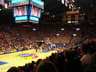 Allen Fieldhouse indoor arena at the University of Kansas