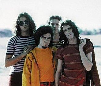 Almendra (band) - Almendra in 1970. From left to right: Edelmiro Molinari, Rodolfo García, Emilio del Guercio and Luis Alberto Spinetta.