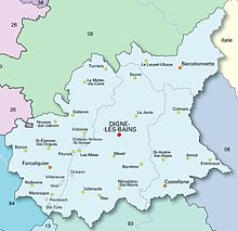 30 cities in Alpes-de-Haute-Provence on map ; the central city of Digne-les-Bains is prominent.