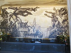 "Part of ""American Progress"", the mural that replaced ""Man at the Crossroads"""