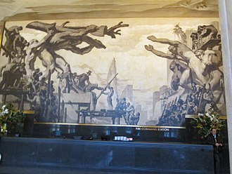 Man at the Crossroads - Part of American Progress, the mural that replaced Man at the Crossroads