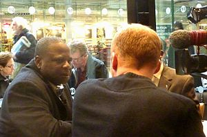 Amos Adamu - Amos Adamu being interviewed by BBC TV Oct 2010