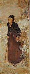 Anciana en la nieve