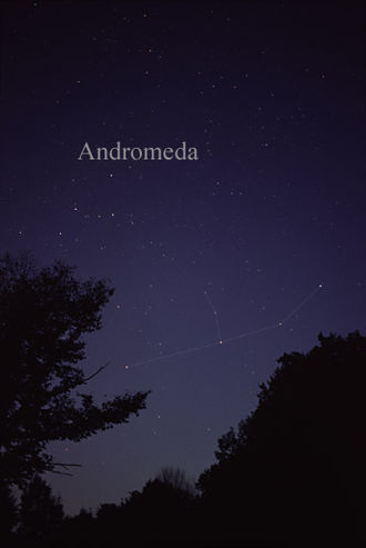 Andromeda (constellation) - Photo of the constellation Andromeda, as it appears to the naked eye. Lines have been added for clarity.