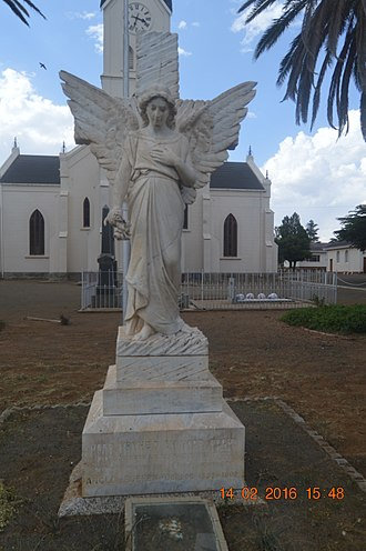 Brandfort - Angel statue in front of Dutch Reformed Church in Brandfort