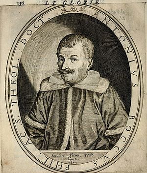 Antonio Rocco - Portrait of the Italian philosophy teacher and a writer Antonio Rocco (1586 - 1653) by Jacopo Pecini, from the book, Le glorie degli Incogniti, 1647