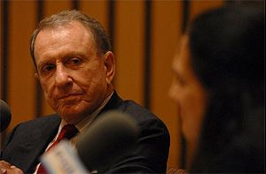 "Arlen Specter - Specter while he was being interviewed by Margot Adler for an episode of Justice Talking on ""Presidential signing statements."""