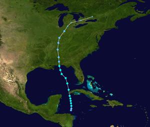 Tropical Storm Arlene (2005) - Image: Arlene 2005 track