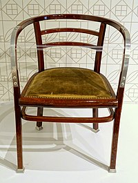 Armchair model 718 F, Otto Wagner, Vienna, made by Gebruder Thonet, c. 1905-1906, beechwood, aluminum, caning under upholstery - Montreal Museum of Fine Arts - Montreal, Canada - DSC09152.jpg