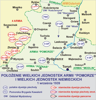 Battle of Tuchola Forest - Positions of Polish and German forces before the battle