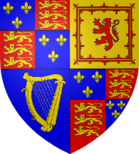 The Coat of Arms of King James I, the first British monarch of the House of Stuart