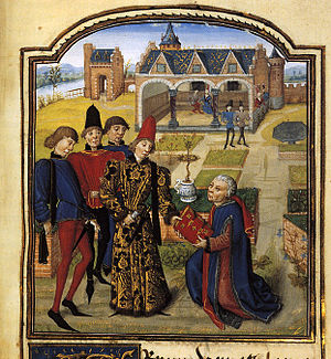 "Guillebert de Lannoy - ""Foliant de Ionnal"" presents his text of L'Instruction de josne prince to ""King Rudolph of Norway"", c. 1468-70."