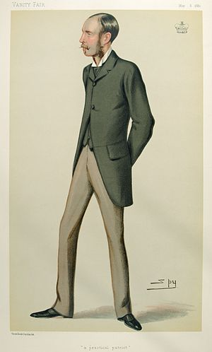 "Arthur Guinness, 1st Baron Ardilaun - ""A practical patriot"". Caricature by Spy published in Vanity Fair in 1880."