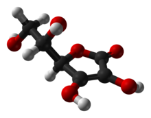 Ball-and-stick model of L-ascorbic acid