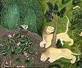 Asiatic Lion or Panthera leo leo in 1810 art detail, Rajastan, donne che sparano da un padiglione, corte di rajput a kota, 1810 ca (cropped).jpg