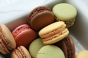 Assorted macarons in a box.