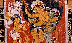 Gautama Buddha - Māyā miraculously giving birth to Siddhārtha. Sanskrit, palm-leaf manuscript. Nālandā, Bihar, India. Pāla period