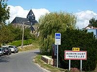 Auboncourt-Vauzelles (Ardennes) city limit sign.JPG