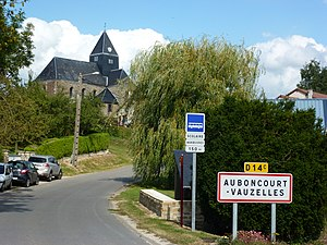 Auboncourt-Vauzelles (Ardennes) city limit sign.JPG