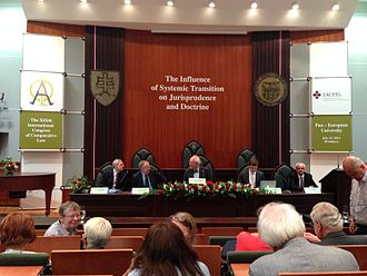 "Pan-European University - An auditorium of the University playing host to a special session of the 2014 World Congress of Comparative Law entitled ""The Influence of Systemic Transition on Jurisprudence and Doctrine"""