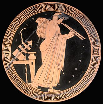 Mimnermus - The aulos was an instrument that might accompany the singing of elegies (Brygos Painter, Attic red-figured kylix, ca. 490 BC)