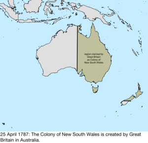 Territorial evolution of Australia - Map of the change to the founding colonies of Australia on 25 April 1787