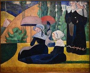 Breton Women with umbrellas